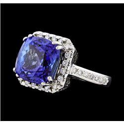 8.00 ctw Tanzanite and Diamond Ring - 14KT White Gold