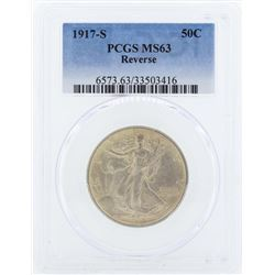1917-S Walking Liberty Half Dollar Coin PCGS MS63 Reverse