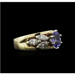 1.02 ctw Tanzanite and Diamond Ring - 14KT Yellow Gold