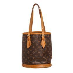 Louis Vuitton Monogram Canvas Leather Petit Bucket Bag