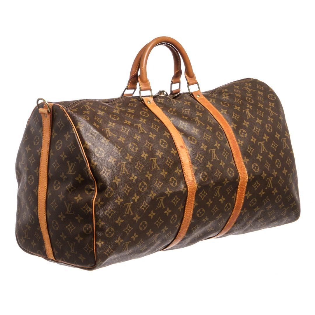 f1152a1bf18f ... Image 4   Louis Vuitton Monogram Canvas Leather Keepall 60 cm  Bandouliere Duffle Bag Lugag ...