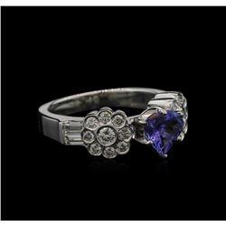 0.93 ctw Tanzanite and Diamond Ring - 18KT White Gold
