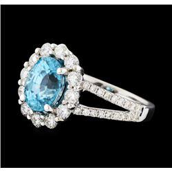 3.56 ctw Zircon and Diamond Ring - 14KT White Gold