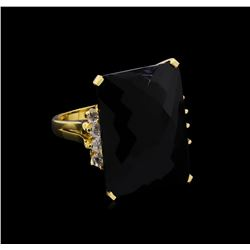 20.92CT Black Onyx and Diamond Ring - 14KT Yellow Gold