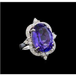 GIA Cert 16.34 ctw Tanzanite and Diamond Ring - 14KT White Gold