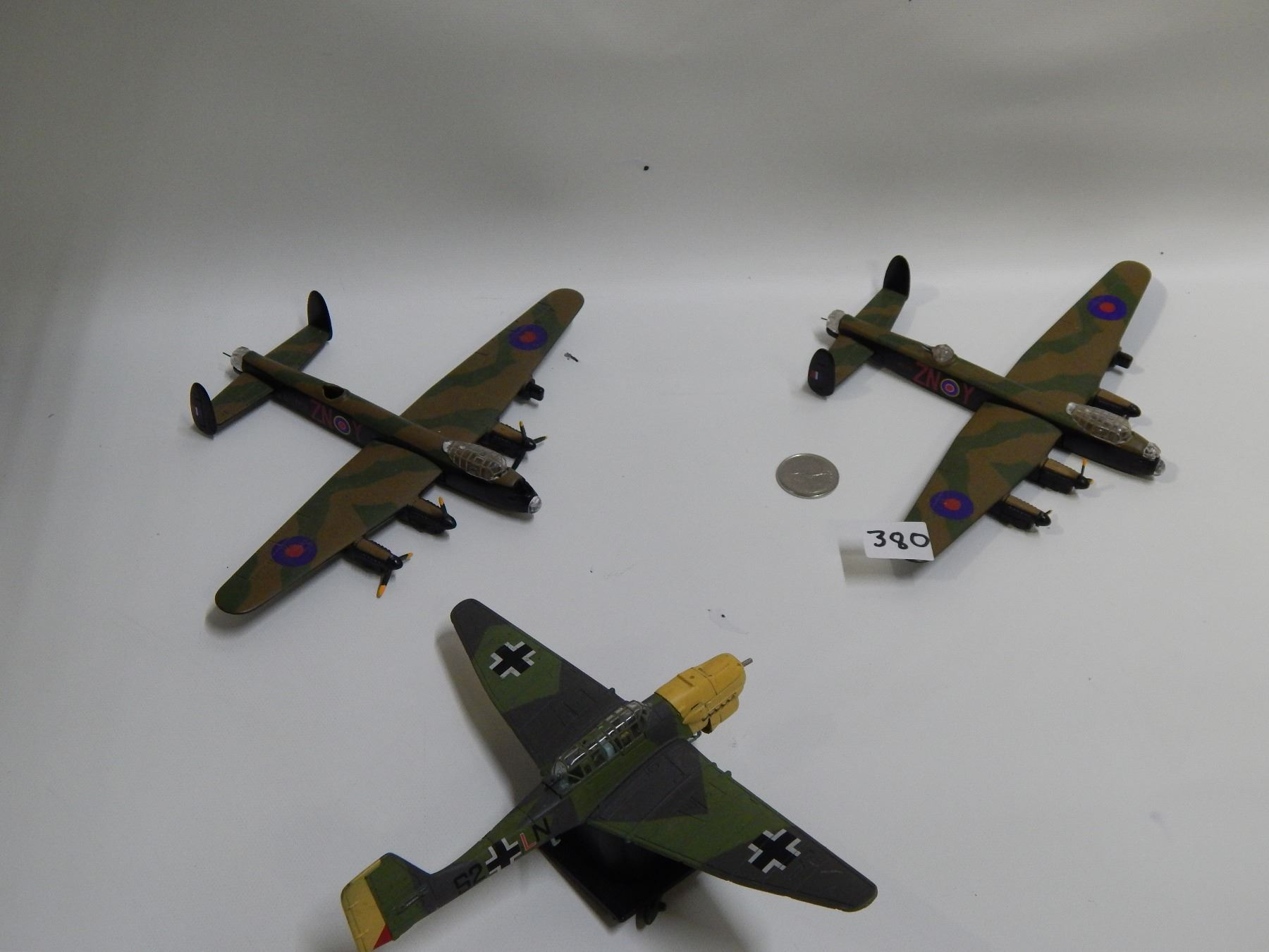2 british bombers 1 german plane ww2 some parts missing