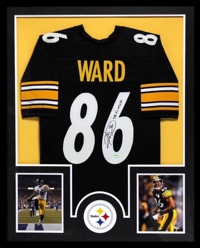 09bbf852000 Image 1 : Hines Ward Signed Steelers 34x42 Custom Framed Jersey Inscribed