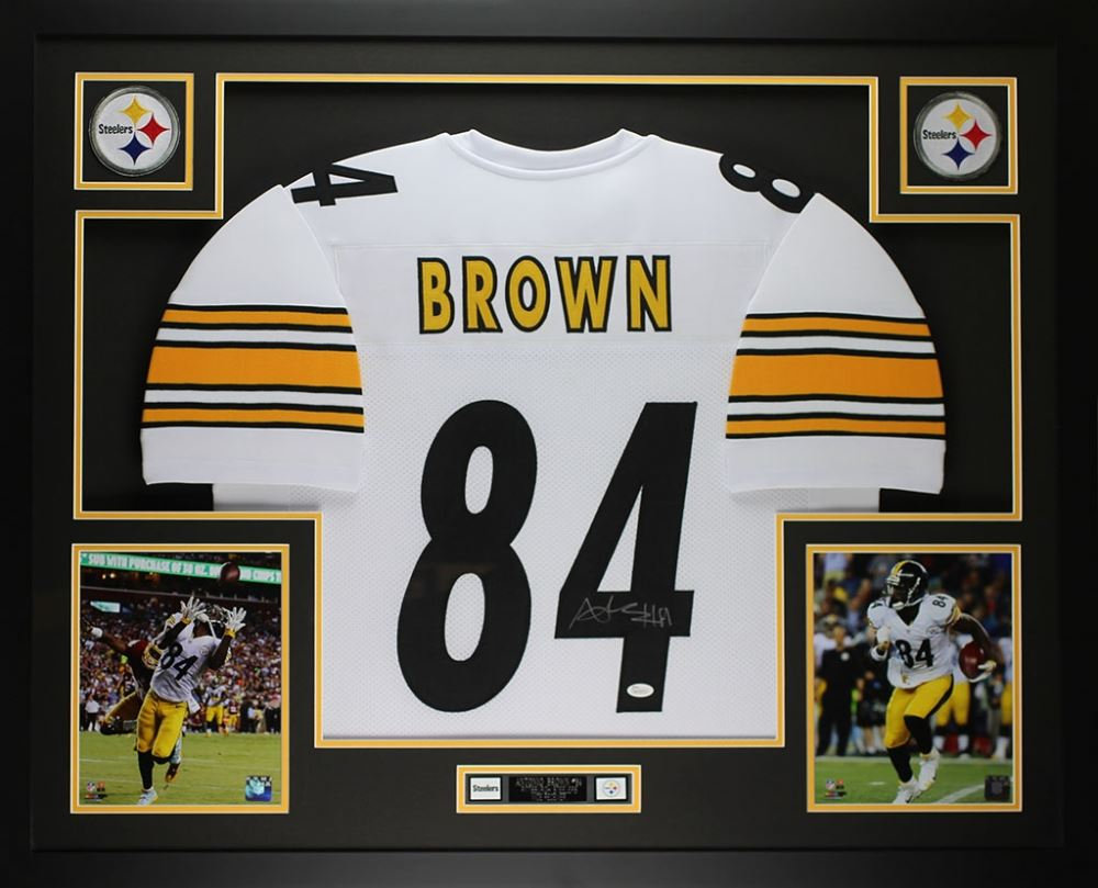 860695e728a Image 1   Antonio Brown Signed Steelers 35x43 Custom Framed Jersey (JSA COA)