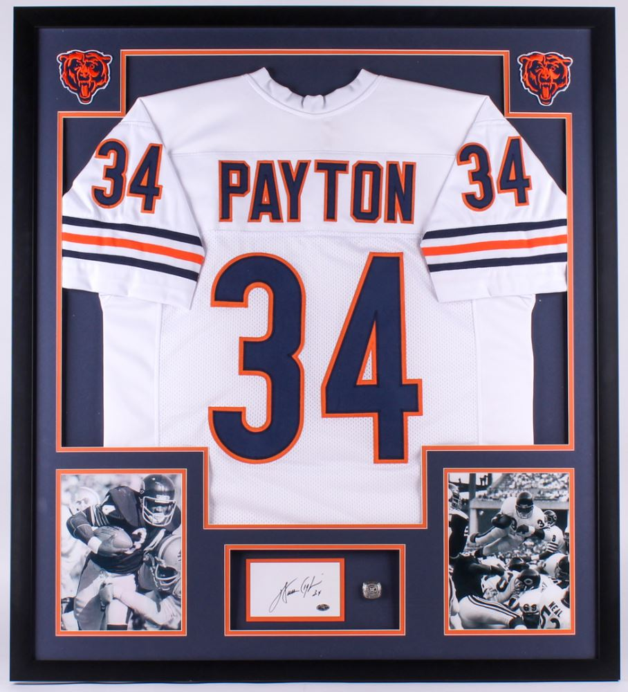 141c1c6871e Image 1 : Walter Payton Signed Bears 34x38 Custom Framed Cut Display (PSA)