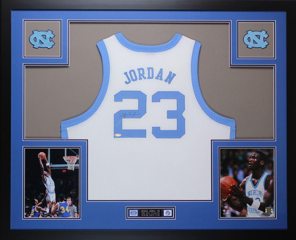 7ace01ddb9b Image 1 : Michael Jordan Signed North Carolina Tar Heels 35x43 Custom  Framed Jersey (PSA
