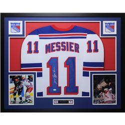 abb2d7d1ca8 Mark Messier Signed Rangers 35x43 Custom Framed Jersey (JSA COA)