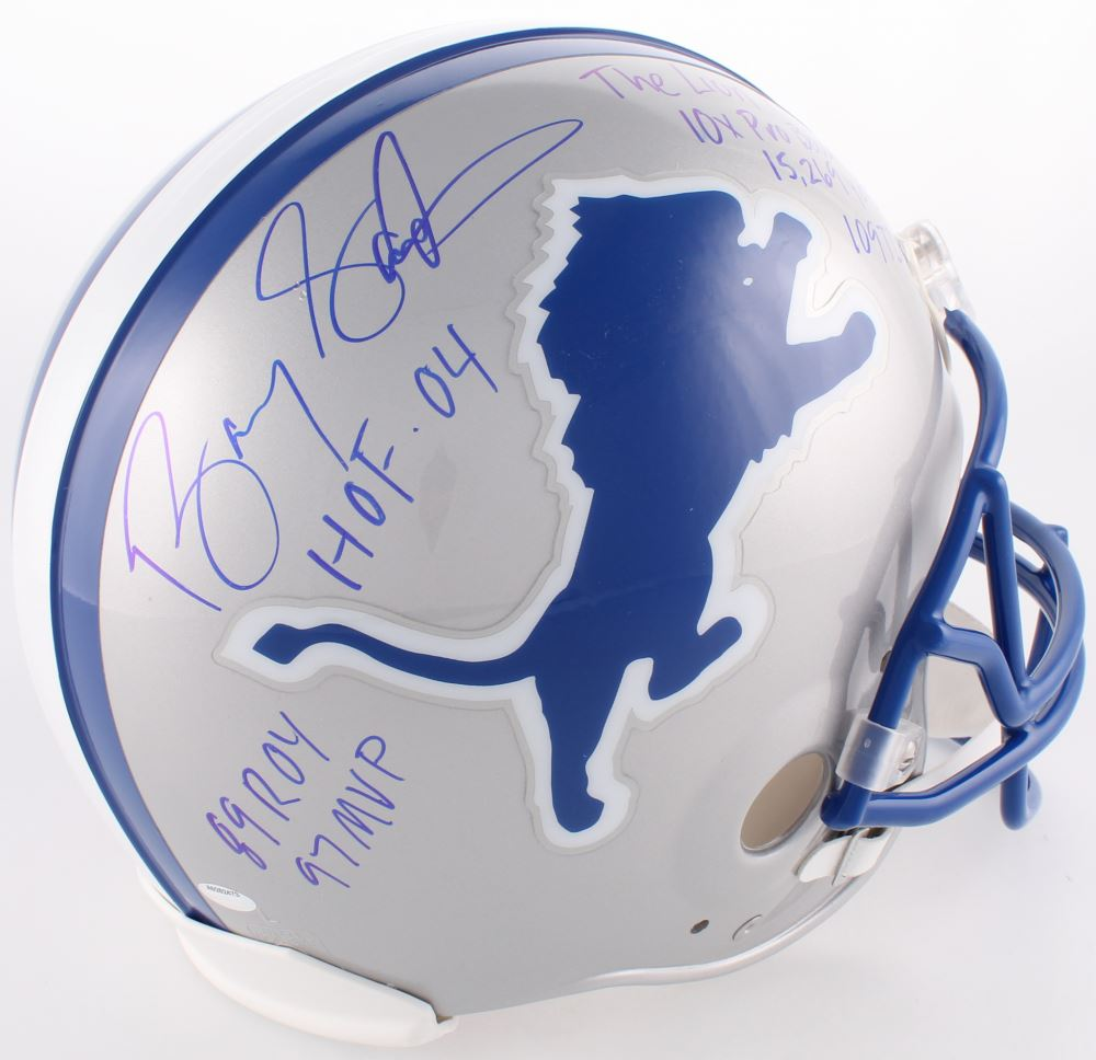brand new 59231 421cb Barry Sanders Signed Lions Authentic On-Field Helmet with (7 ...