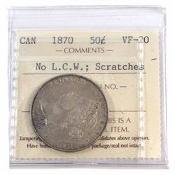 50-cent 1870 NO L.C.W., Scratches, ICCS Certified VF-20. *Rare Variety nice eye appeal*