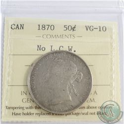 50-cent 1870, NO L.C.W. ICCS Certified VG-10! *Rare Variety*