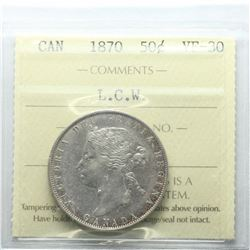 50-cent 1870 L.C.W ICCS Certified VF-30