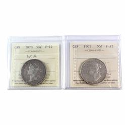 50-cent 1870 L.C.W, & 1901 ICCS Certified F-12. A nice pair for first and Last year issues of Queen