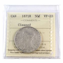 50-cent 1871H ICCS Certified VF-20 (cleaned). An Attractive coin worth a good look.