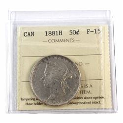 50-cent 1881H ICCS Certified F-15. A nice bright Coin.