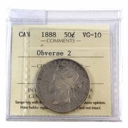 50-cent 1888 Obv. 2 ICCS Certified VG-10 *Key Date*