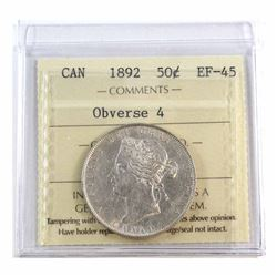 50-cent 1892 Obverse 4 ICCS Certified EF-45. This is 1 of 10 Certified by ICCS in this grade.
