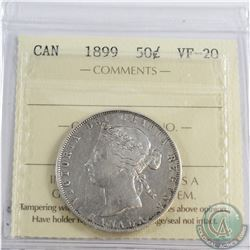 50-cent 1899 ICCS Certified VF-20. Bright coin with hints of edge toning.