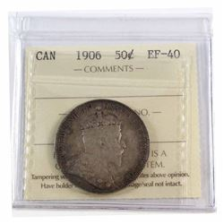 50-cent 1906 ICCS Certified EF-40. A Nice original coin with medium tones throughout.