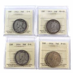 50-cent 1911 G-6, 1913 VG-10, 1914 G-6, & 1916 F-15 All ICCS Certified. 4pcs