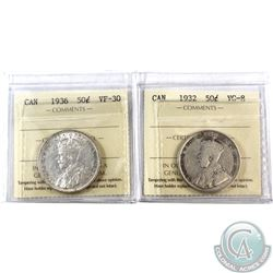 50-cent 1932 VG-8 & 1936 VF-30 both coins ICCS Certified. 2pcs.