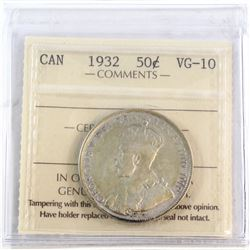 50-cent 1932 ICCS Certified VG-10