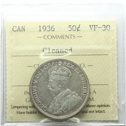 50-cent 1936 ICCS Certified VF-30 (Cleaned)