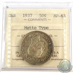 50-cent 1937 ICCS Certified SP-63 Matte Type.
