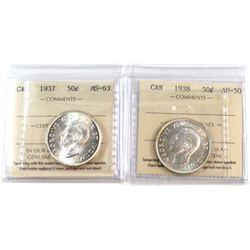 50-cent 1937 ICCS Certified MS-63 & 1938 AU-50. 2pcs