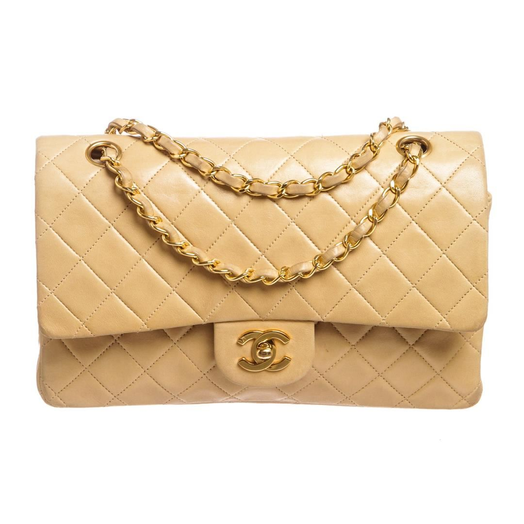 4e02408251135 Image 1   Chanel Beige Lambskin Quilted Leather Medium Double Flap Bag ...