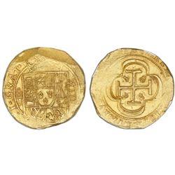 """Mexico City, Mexico, cob 8 escudos, (1714)J, """"GRAT"""" variety, NGC MS 64, ex-1715 Fleet (designated on"""