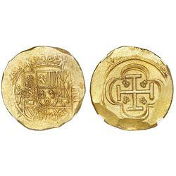 """Mexico City, Mexico, cob 8 escudos, (1714)J, """"GRAT"""" variety, NGC MS 62, ex-1715 Fleet (designated on"""