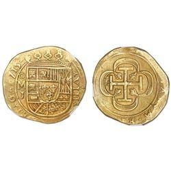 Mexico City, Mexico, cob 8 escudos, 1715J, NGC AU 58, ex-1715 Fleet (designated on label).