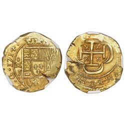 Mexico City, Mexico, cob 2 escudos, 1714J, NGC MS 64, ex-1715 Fleet (designated on label).