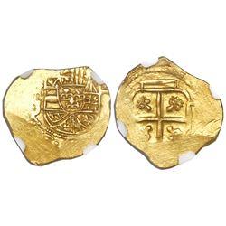 Mexico City, Mexico, cob 1 escudo, Philip V, assayer J, style of 1705-10, NGC AU 50, ex-1715 Fleet.