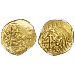 Mexico City, Mexico, cob 1 escudo, (1711-13)J, mintmark oM, NGC AU 53, ex-1715 Fleet (designated on