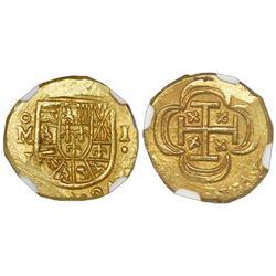 Mexico City, Mexico, cob 1 escudo, (1714)J, NGC MS 64, ex-1715 Fleet (designated on label).