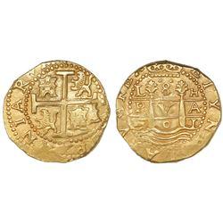 Lima, Peru, cob 8 escudos, 1701H, posthumous Charles II, extremely rare, PCGS MS63, ex-Pullin, ex-17