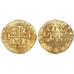Lima, Peru, cob 8 escudos, 1708H, ex-1715 Fleet.