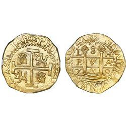 Lima, Peru, cob 8 escudos, 1710H, NGC MS 63, ex-1715 Fleet (designated on label).