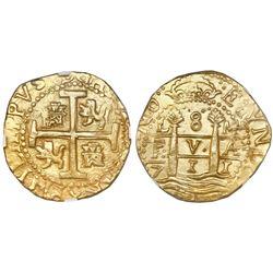 Lima, Peru, cob 8 escudos, 1711M, NGC MS 63, ex-1715 Fleet (designated on label).