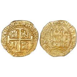 Lima, Peru, cob 8 escudos, 1713/2M, NGC MS 63, ex-1715 Fleet (designated on label).