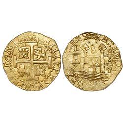 Lima, Peru, cob 8 escudos, 1714/3M, very rare, PCGS MS62, ex-Pullin, ex-1715 Fleet (both designated