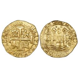 Lima, Peru, cob 8 escudos, 1714/3M, very rare, PCGS MS62, ex-Pullin, ex-1715 Fleet (both designated