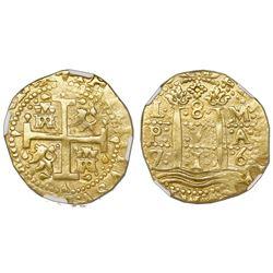 Lima, Peru, cob 8 escudos, 1716M, NGC AU 53.
