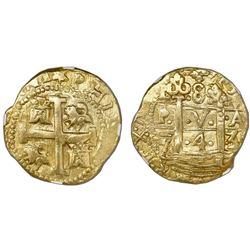 Lima, Peru, cob 8 escudos, 1743/2V, very rare, NGC AU 58.