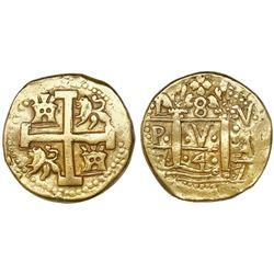 Lima, Peru, cob 8 escudos, 1747V, posthumous Philip V, rare.